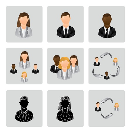 types of people over gray background illustration Vector