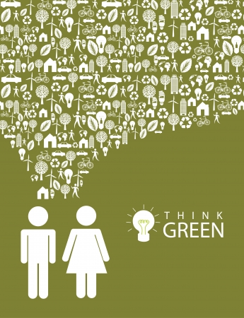 ecological mindset over green background illustration   Vector