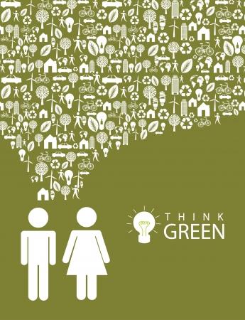 mindset: ecological mindset over green background illustration   Illustration