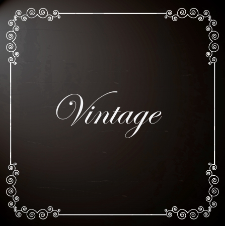 home deco: frame vintage over black background illustration