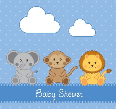 Baby shower card over blue background illustration Vector