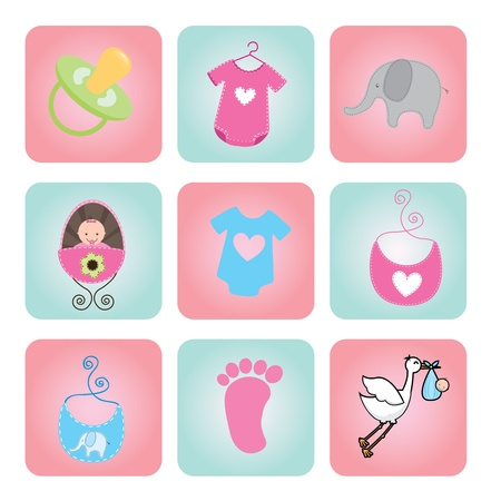 babero: ducha iconos de beb� sobre fondo blanco Ilustraci�n