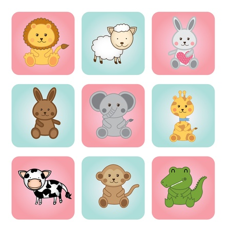 animal babies over white background illustration  Vector