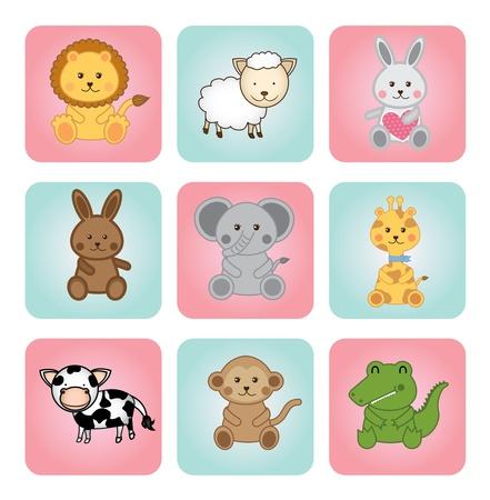 bebés animales sobre fondo blanco Ilustración