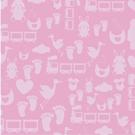 stuff toys: baby skin over pink background illustration Illustration