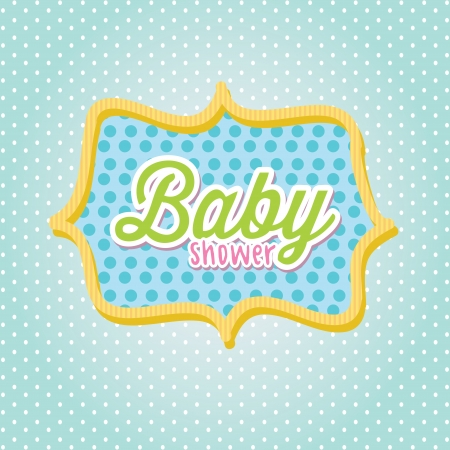 baby shower frame over blue background illustration   Stock Vector - 19773175