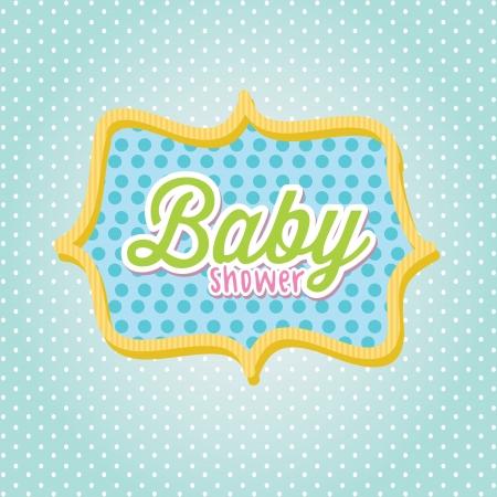 baby shower frame over blue background illustration Stock Vector - 19773175