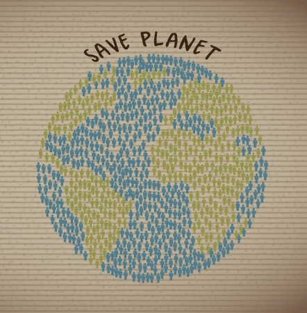save planet over grunge background illustration Vector