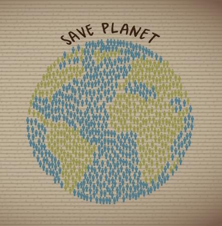 humane: save planet over grunge background illustration