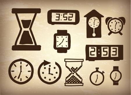 watches icons over vintage background illustration Vector