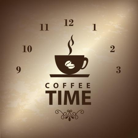 time frame: coffee time over braze background illustration  Illustration