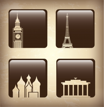 world icons over brown background illustration   Stock Vector - 19773394