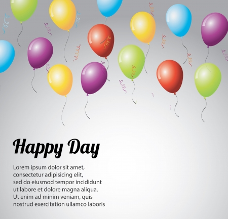 happy day over gray background illustration  Illustration