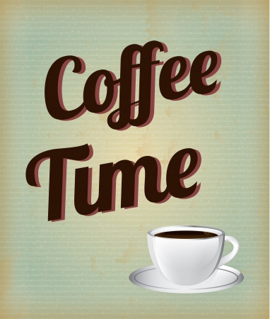 expresso: coffee cup over grunge background illustration