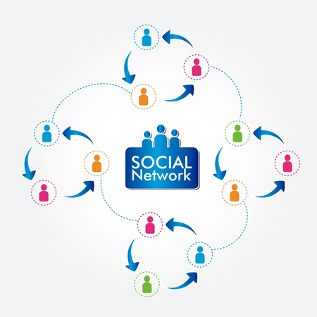 social network over white background vector illustration Stock Vector - 19916328
