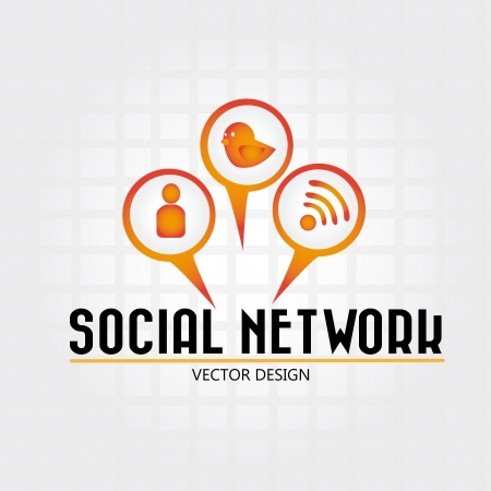 social network over grid background  vector illustration  Stock Vector - 19916322