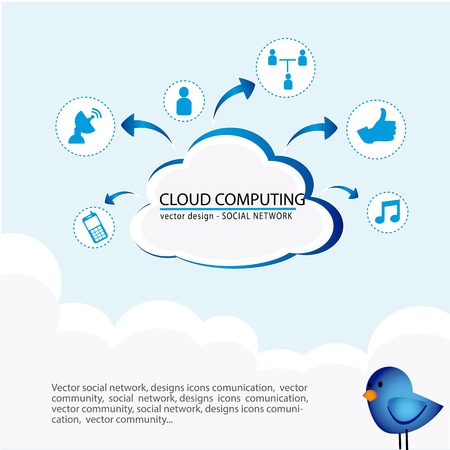 twitter: cloud computing over sky background vector illustration