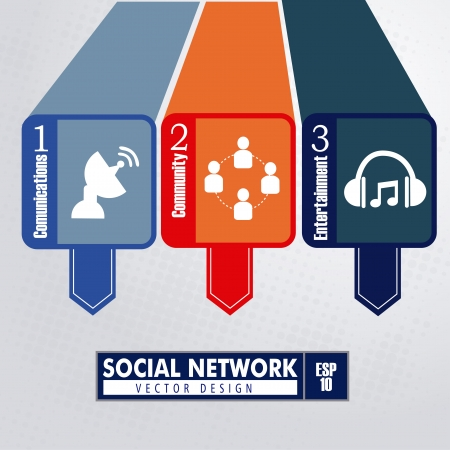 cartoon orange: infographics social network over dotted background vector illustration