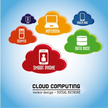 technological clouds over sky background vector illustration  Vector