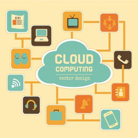cloud computing over cream background vector illustration Stock Vector - 19916420
