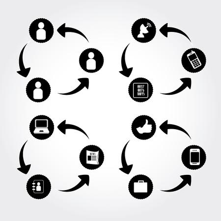 sociale monochrome sur fond gris illustration vectorielle Illustration