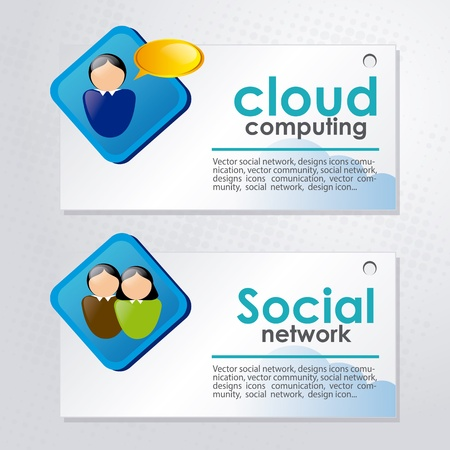 cloud computing and social network  over dotted background vector illustration  Vector