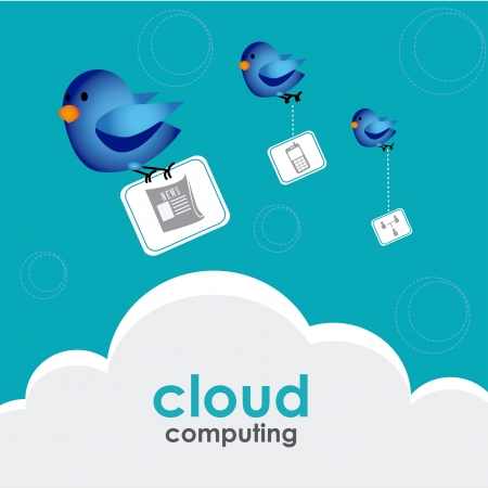 cloud computing over sky background vector illustration Stock Vector - 19916334