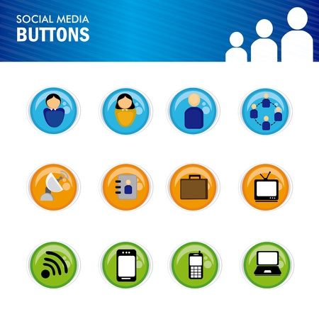 social media buttons over white background vector illustration  Stock Vector - 19916329