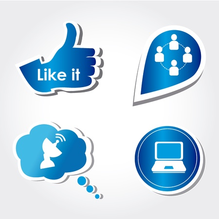 cons: social icons over white background vector illustration