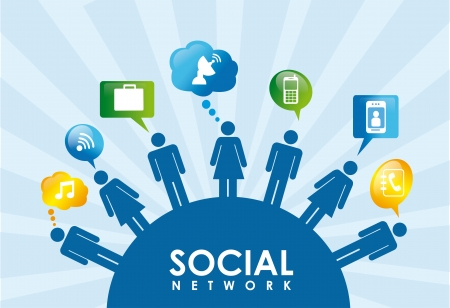 social network icons over blue background vector illustration  Stock Vector - 19916342