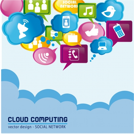 contacting: social networ over sky background vector illustration  Illustration