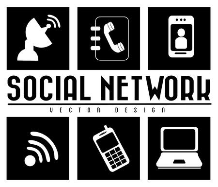 monochrome social network over white background vector illustration Stock Vector - 19916319