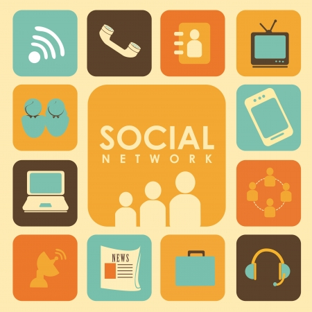 social network over cream background  Stock Vector - 19916323