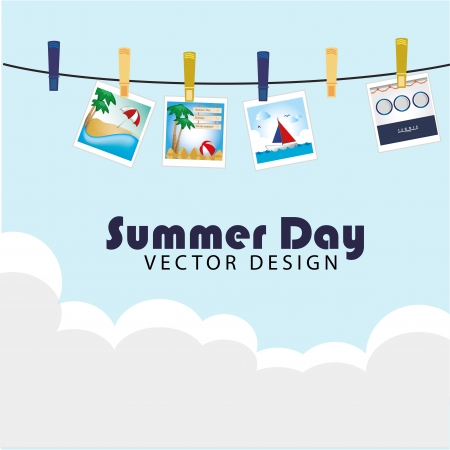 revealed: summer day photos  over sky background vector illustration
