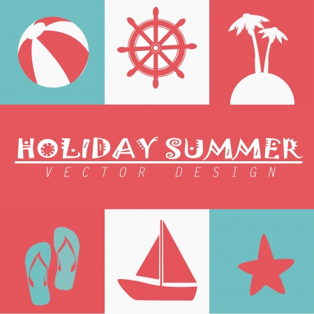 holiday summer over pink background vector illustration  Vector