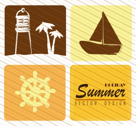 holiday summer over grunge background vector illustration  Vector
