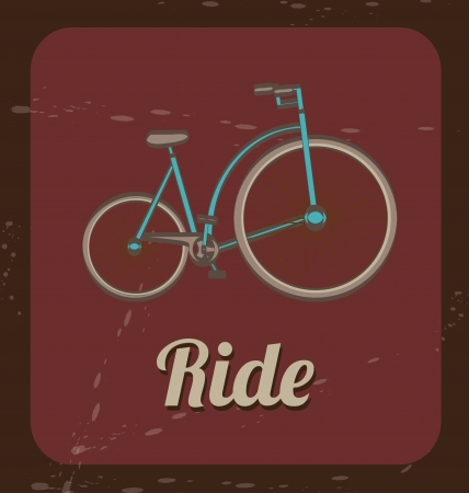 treadle: ride bicycle over vintage background vector illustration