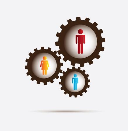 relaciones laborales: engranajes y personas sobre fondo blanco ilustración vectorial