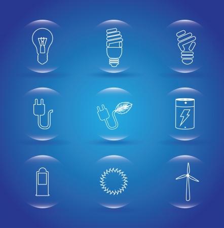 bombillo ahorrador: iconos eco sobre fondo azul ilustraci�n vectorial