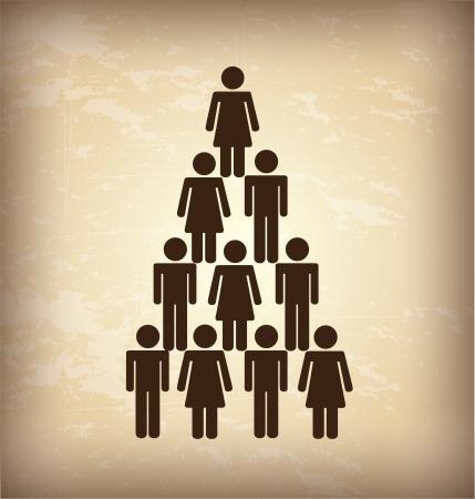 relaciones laborales: iconos sociales sobre fondo de cosecha ilustración vectorial Vectores