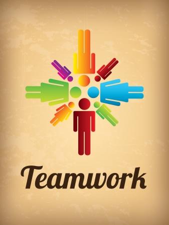 teamwork silhouette over vintage background vector illustration Stock Vector - 19916677