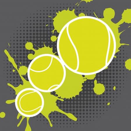 splashed: tennis design over dotted background vector illustration  Illustration