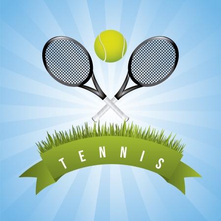 tenis: marco tenis sobre fondo de cielo ilustraci�n vectorial Vectores