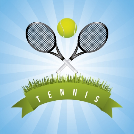 grass line: tennis frame over sky background vector illustration