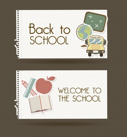 back to school over brown background vector illustration  Vector