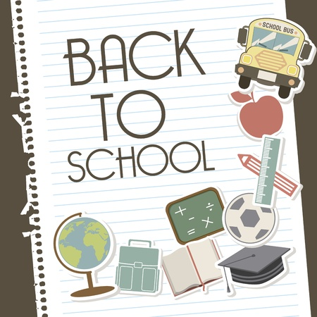 back to school over leaves notebook background vector illustration Stock Vector - 19916574
