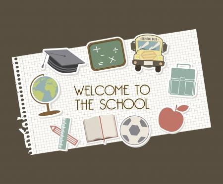 ni�os con l�pices: bienvenidos a la escuela sobre fondo marr�n ilustraci�n vectorial Vectores