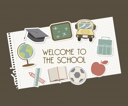 primary: welcome to school over brown background vector illustration