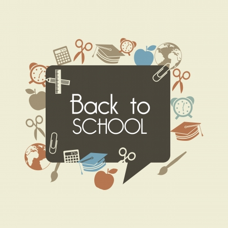 back icon: back to school over brown background vector illustration