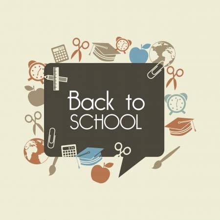 cartoon school: wieder in die Schule �ber braun Hintergrund Vektor-Illustration Illustration